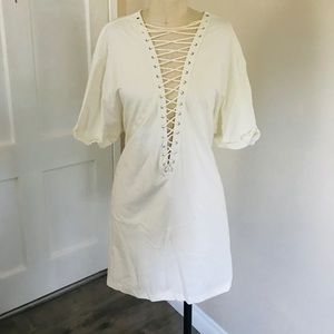 LF White Lace Up T-Shirt Dress